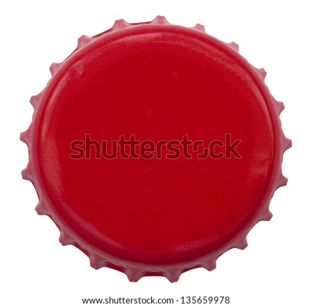A red metal bottle cap used on glass bottles. Shot directly above, isolated on white background. - stock photo
