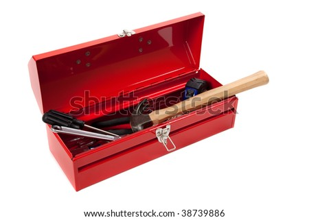 A red metal toolbox with tools on a white background