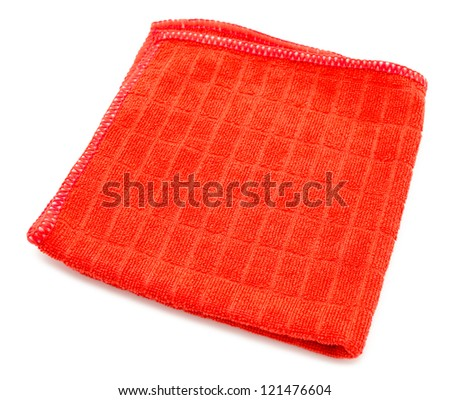 a red microfiber cleaning towel, over white background