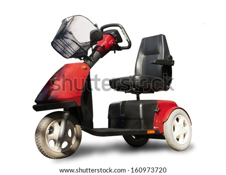 A red mobility scooter on a white background
