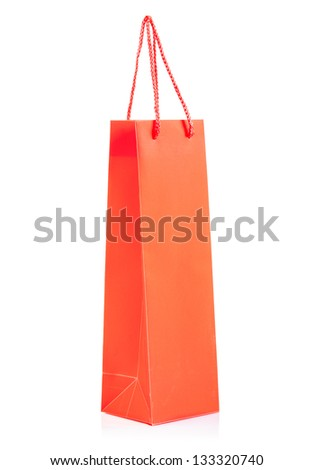a red paper bag isolated