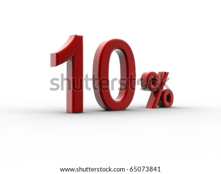 A red percentage isolated on a white background