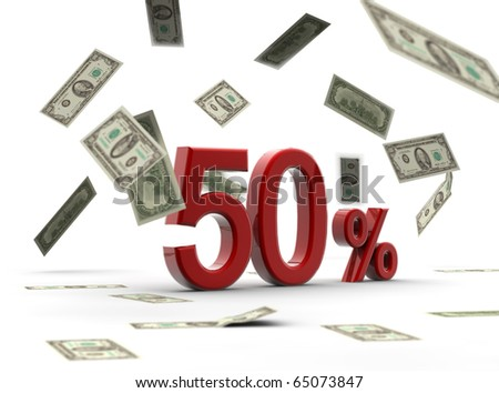 A red percentage isolated on white with money falling