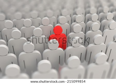 A red person in a crowd of people - stock photo