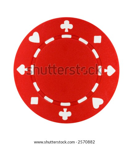 A red poker chip isolated on a white background - stock photo