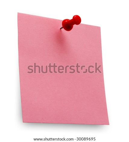 A red posit note with spin isolated - stock photo