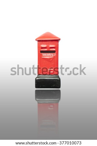 A red post box isolated on white (thailand)
