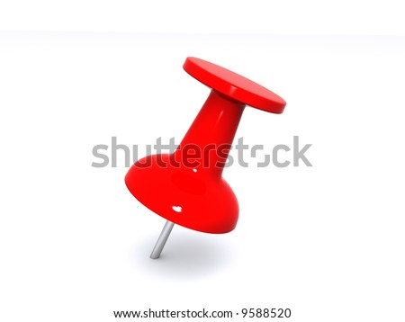 A red push pin for holding paper on a bulletin board.