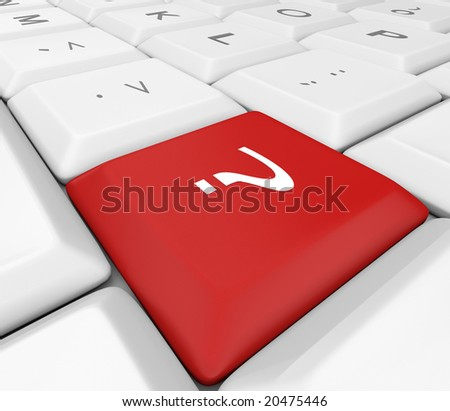 A red question mark key on a white keyboard