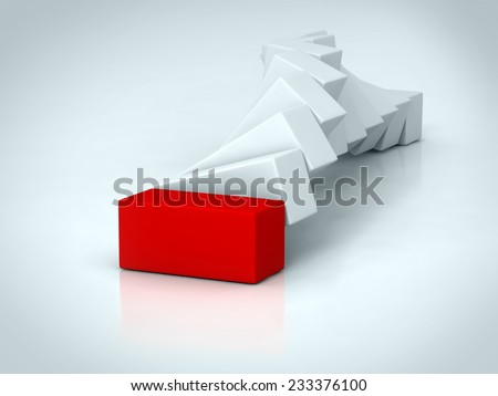 A red rectangle placed observably in a group of white rectangles. - stock photo