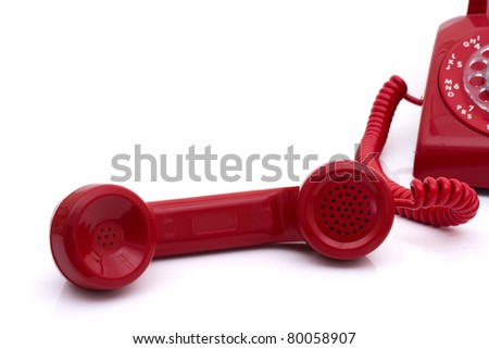 A red retro telephone isolated on white, Call for help