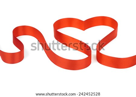 A red ribbon shaping heart, isolated on white background - stock photo