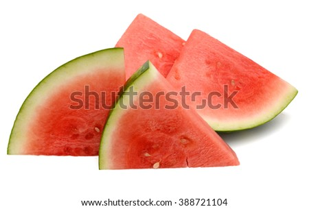 A red ripe watermelon slice on white