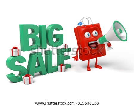 A red shopping bag is promoting the sale  - stock photo