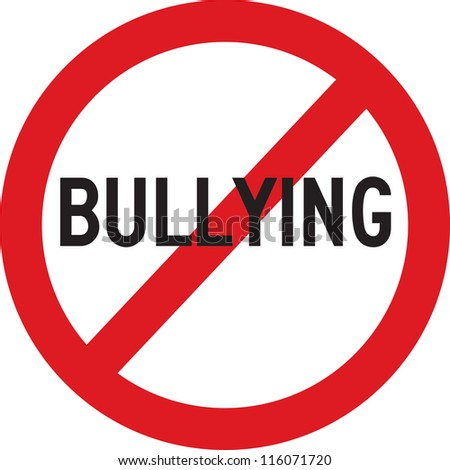 A red sign which does not allow bullying - stock photo