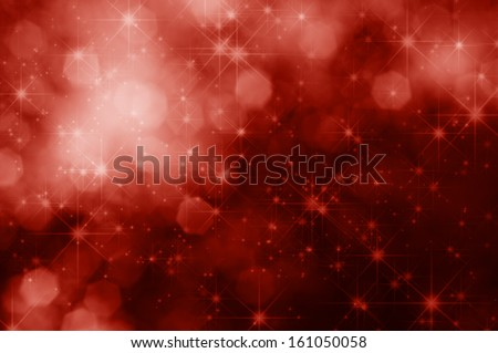 A red, sparkling Christmas background with twinkling stars and bokeh lights.
