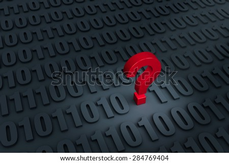 "A red ""?"" stands out in a dark background filled with binary computer code receding into the distance