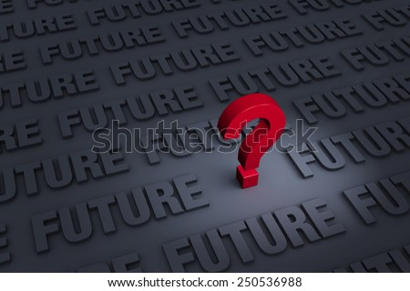 "A red ""?"" stands out in a dark background filled with the word ""FUTURE"" receding into the distance  - stock photo"