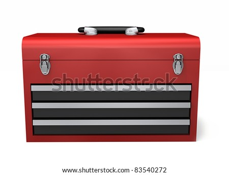 A red three drawer toolbox isolated on a white background