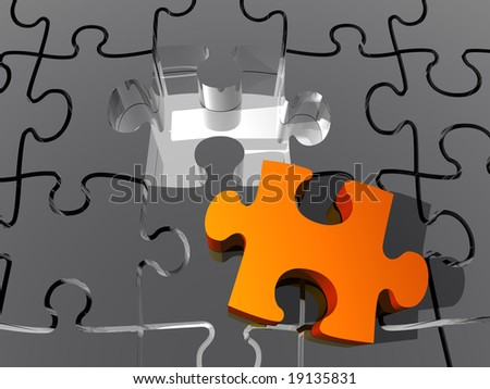 A red tile make solution for a puzzle - stock photo