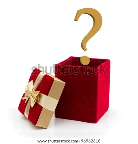 A red velvet present with a gold bow and gold question mark isolated on white, What to give for a present - stock photo