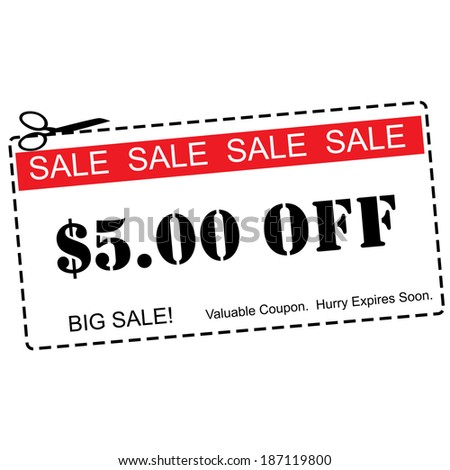 A red, white and black Five Dollars Off Sale Coupon making a great concept. - stock photo