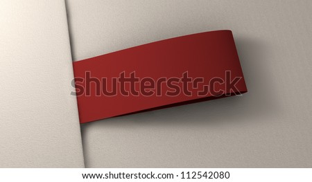A red woven clothing label sewn into seamed white fabric - stock photo