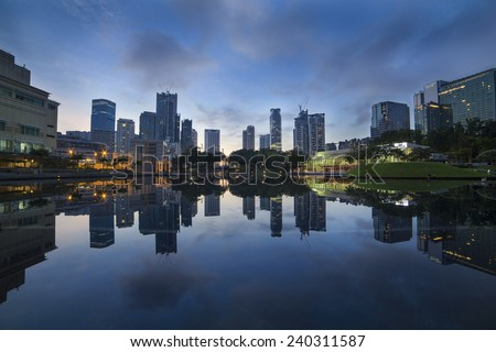 A reflection of a city during blue hour in low light condition