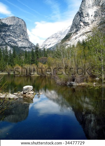 A reflection of the mountains in Yosemite National Park
