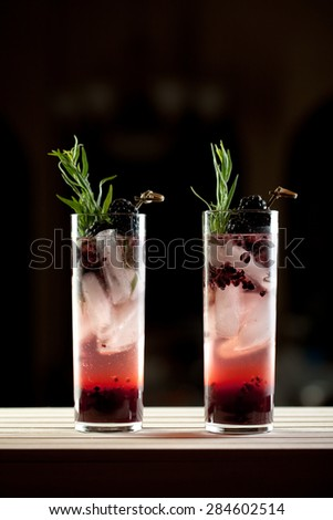 A refreshing champagne, blackberry and tarragon sparkling drink. - stock photo