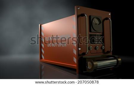 A regular aviation flight recorder black box painted in orange on a dark isolated studio background - stock photo