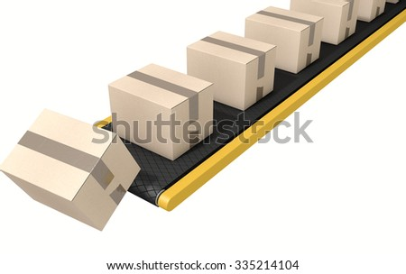 A regular belt conveyor system transporting cardboard boxes falling off the end on an isolated white studio background - stock photo