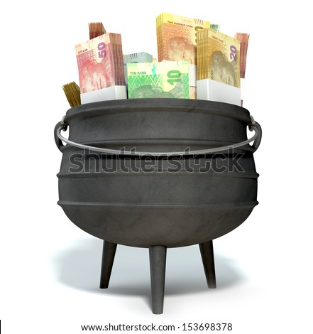 A regular cast iron south african potjie pot with a steel handle filled with bundles of south african rand notes on an isolated background - stock photo