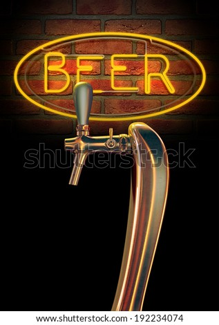 A regular chrome draught beer tap on a facebrick wall background with a neon beer sign illuminated in the background - stock photo