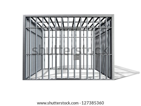 A regular cube shaped holding cell on an isolated background - stock photo