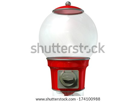 A regular empty red vintage gumball dispenser machine made of glass and reflective plastic with chrome trim on an isolated white background - stock photo