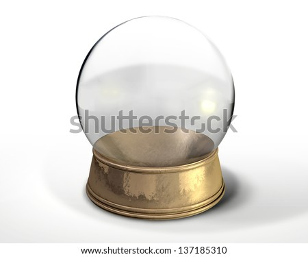 A regular empty snow globe or crystal ball with a worn metal copper base on an isolated background