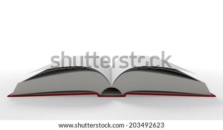 A regular hard cover book open in the middle with blank white pages on an isolated white background