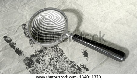 A regular magnifying glass magnifying the fingerprint of a hand print on a crumpled paper - stock photo