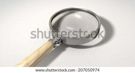 A regular magnifying glass with a wooden handle on a textured white surface - stock photo