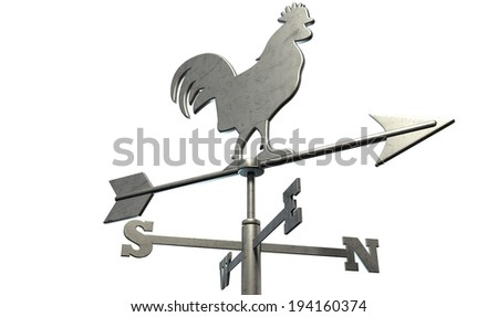 A regular metal weather vane with a cockerel motif facing north east with other directions depicted on an isolated background