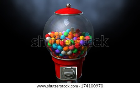 A regular red vintage gumball dispenser machine made of glass and reflective plastic with chrome trim filled with multicolored gumballs on a dark moody  background - stock photo