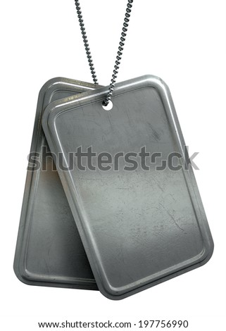 A regular set of blank military dog tag identity tags attached to a chain hanging on an isolated background - stock photo