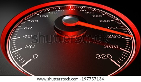 A regular speedometer with glowing red edges and a red needle pointing towards a high speed on an isolated black background - stock photo