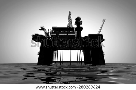 A regular view of an oil rig out at sea on an isolated light background - stock photo