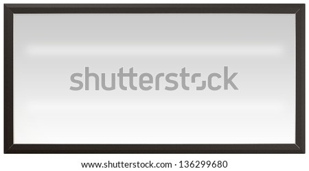 A regular white fluorescent lit light box with a black frame on an isolated background