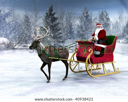 A reindeer pulling a sleigh with Santa Claus in it. The background is a beautiful snowy winter forest. - stock photo