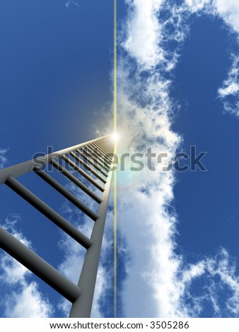 A religious conceptual image of a stepladder/stairway going up to heaven.