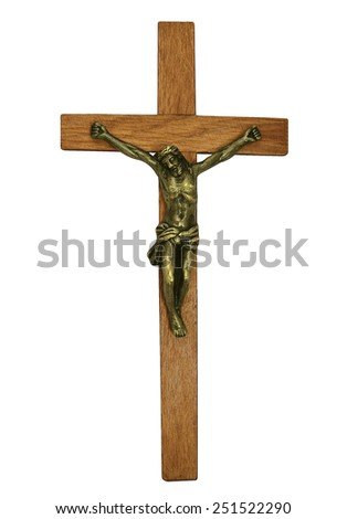 A religious ornament depicting Christ on the cross isolated on white - stock photo