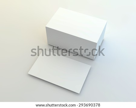 A render of a business cards and stack of cards positioned on a plain white background.